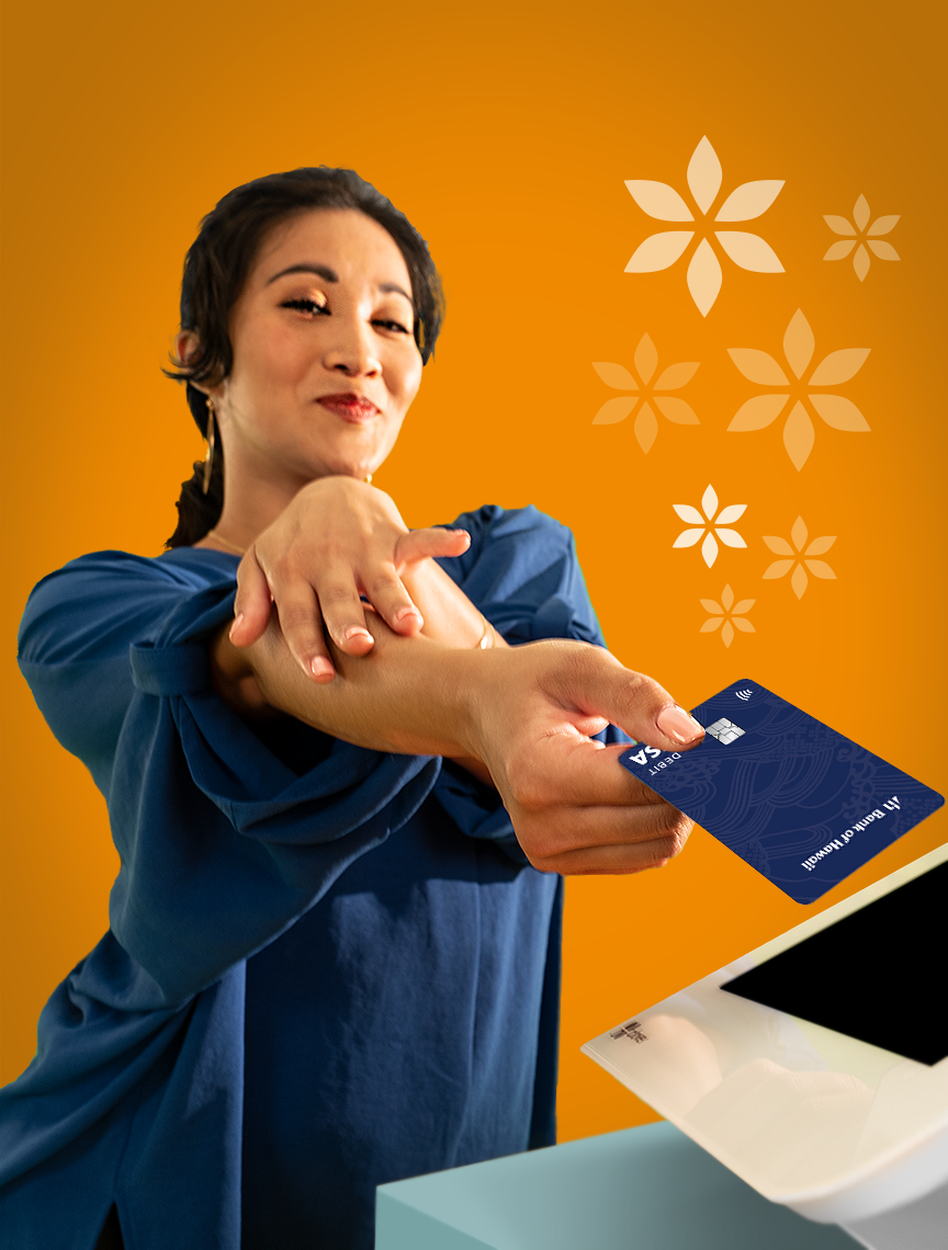 Woman holding card at card reader
